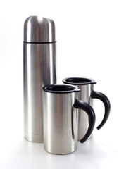 Aluminum mug water bottle on white