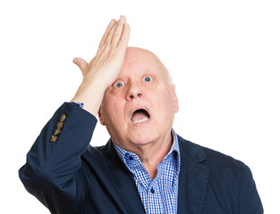 Duh moment senior man realizes mistake isolated white background