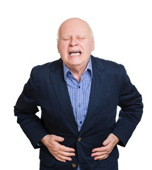 Senior man having stomach ache, pain, on white background