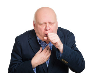 Coughing old man with bronchitis on white background