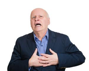 heart attack. portrait senior elderly man with heart pain