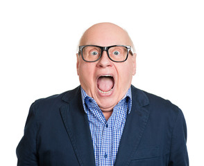 Shocked old man, with wide open eyes and mouth on white