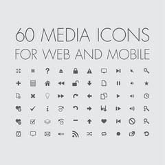 media icons set for web and mobile