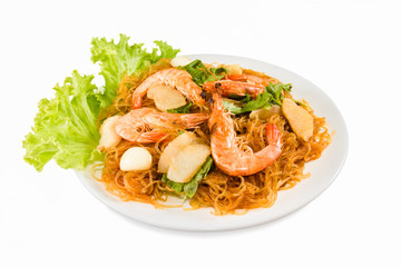 Shrimp vermicelli Thai food Isolated