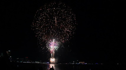 final volley of fireworks at Pattaya beach, Thailand
