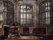 Stary zakurzony salon w opuszczonym domu