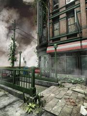 Opuszczony budynek miejski i chodnik z bluszczem