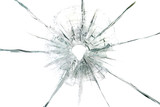 large bullet hole in glass abstract background
