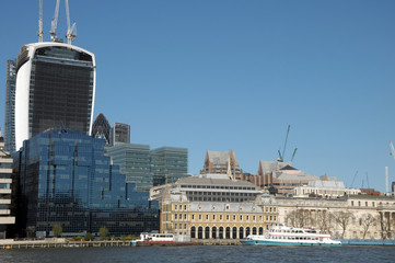 View over River Thames to Walkie-Talkie building