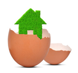 green house in eggshell isolated on white