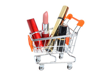 Makeup in pushcart isolated on white