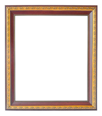 Wooden and gold vintage photo frame over white background