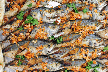 Thai mackerel fish mix with garlic