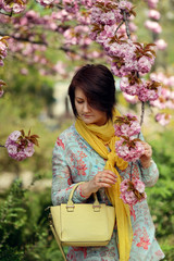cherry blossoms in the garden and a woman in a colorful dress an