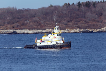 Portland, Maine - Tug boat in channel