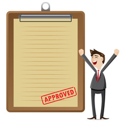 cartoon businessman with approved document