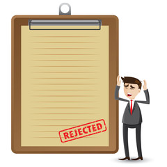 cartoon businessman with rejected document