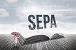 Sepa against open book against sky