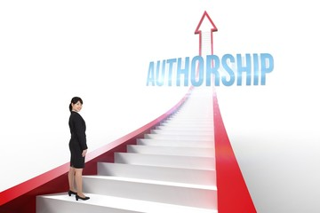 Authorship against red arrow with steps graphic