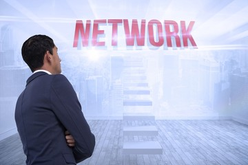 Network against city scene in a room