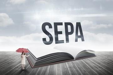 Sepa against open book against sky