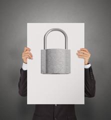 businessman hand showing poster of 3d metal padlock as security