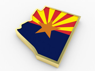 arizona flag and 3d map