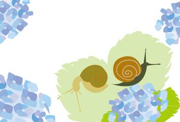 カタツムリとあじさいの花のお洒落なポップ