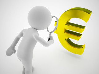 3d character euro sign magnified