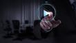 Leinwanddruck Bild - Businessman hand press play button sign to start or initiate pro
