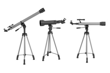 realistic 3d render of telescopes