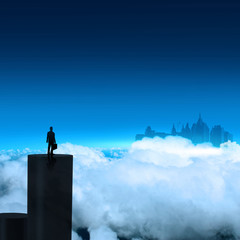 businessman stands successfully on building top Looking Towards