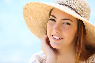 Portrait of a beautiful woman face in summer