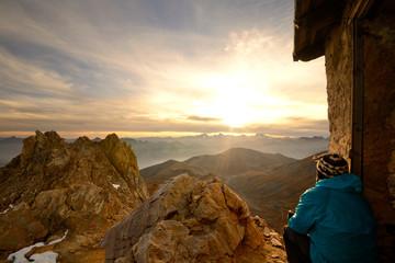 On the summit at sunrise