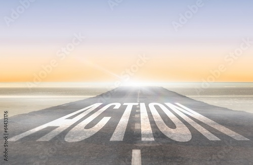 Action against road leading out to the horizon