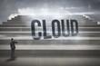 Cloud against steps against blue sky