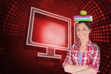 Composite image of computer and student