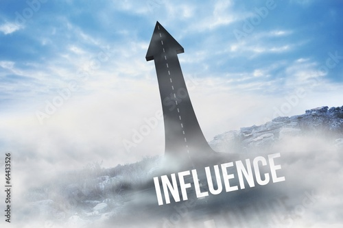Influence against road turning into arrow - 64433526