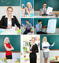 Collage of clever teachers close-up