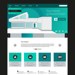 Flat Web Design elements. Templates for website