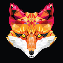 Fox head in geometric pattern, vector illustration