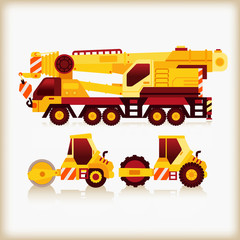crane truck and road roller
