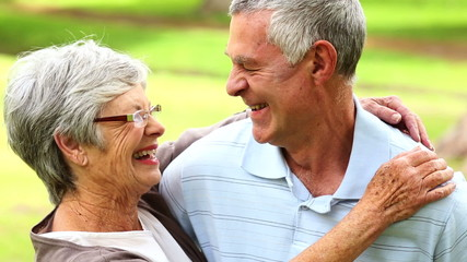 Retired couple in the park smiling at each other