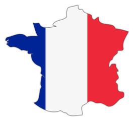 Frankreich Karte in Nationalfarben