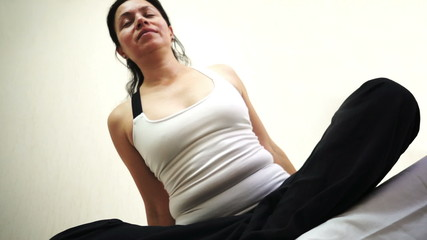 Meditation Woman Dutch Angle Stretch