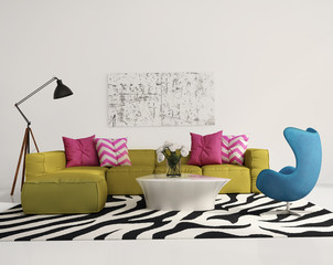 Elegant contemporary fresh interior with lime sofa