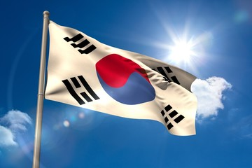 South korea national flag on flagpole