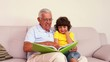 Senior man sitting on couch with his grandson looking at photo a