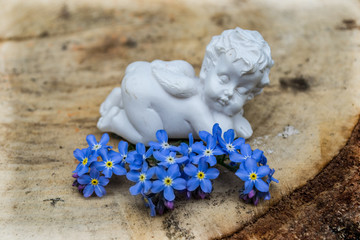angel and blue flowers