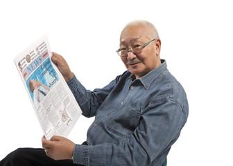 Asian men  reads newspaper